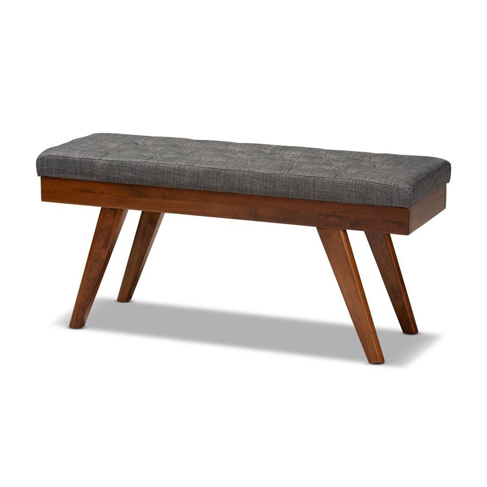 Alona Medium Wood Dining Bench Gray - Baxton Studio