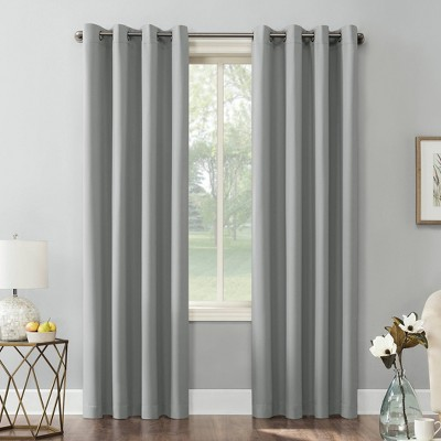 "95""x54"" Kenneth Energy Saving Blackout Grommet Top Curtain Panel Silver - Sun Zero"