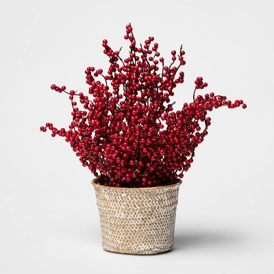 14  x 12  Artificial Holly Berry Arrangement in Pot Red/Natural - Threshold™