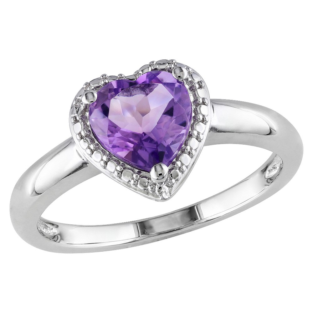 1.05 CT. T.W. Heart Shaped Amethyst Ring in Sterling Silver 7 - Purple Discounts