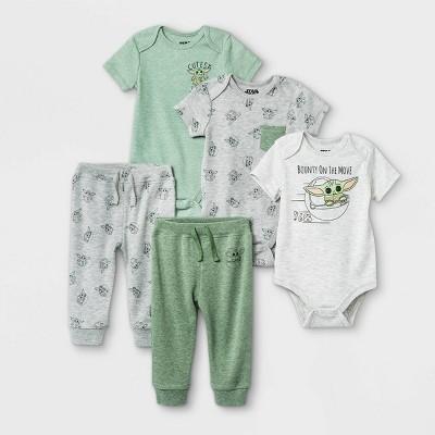 Baby Boys' 5pk Star Wars Baby Yoda Short Sleeve Top and Bottom Set