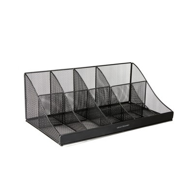 Mind Reader 11 Compartment Break Room Coffee Condiment, Black Metal Mesh