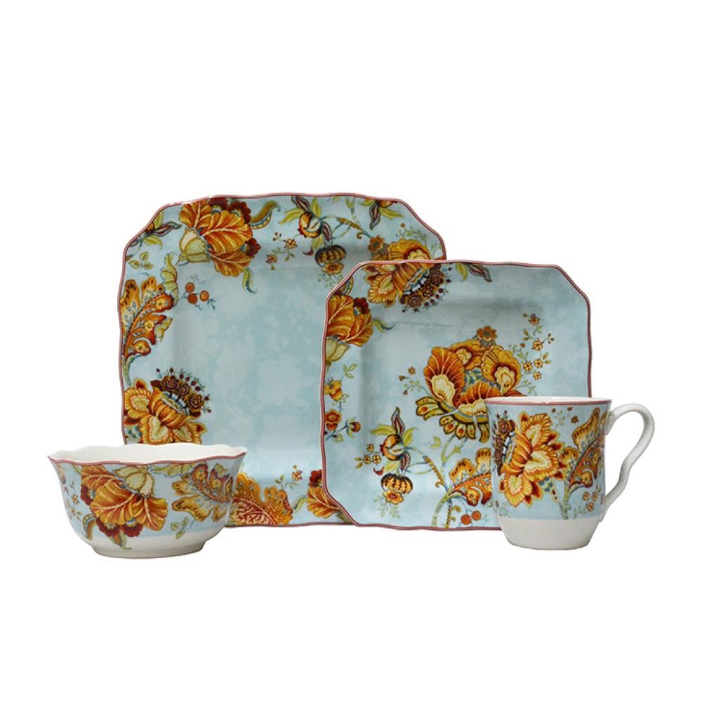 Image of 16pc Porcelain Gabrielle Dinnerware Set Blue - 222 Fifth