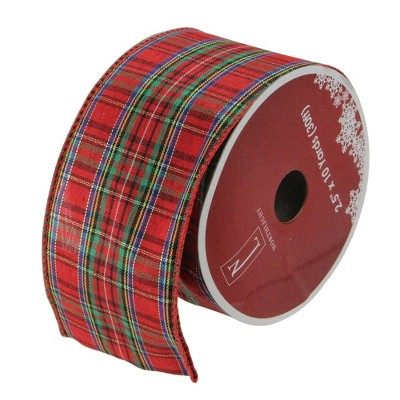 """Northlight Red and Green Stripe Wired Christmas Craft Ribbons - 2.5"""" x 12 Yards"""