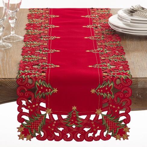 "68""x16"" Nostalgic Holiday Christmas Tree Table Runner Red - Saro Lifestyle - image 1 of 3"