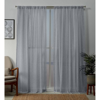 Santos Rod Pocket Sheer Window Curtain Panels - Exclusive Home