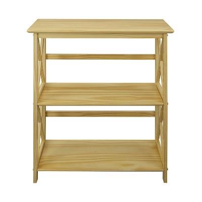 Casual Home 324-30 Soild Pine Wood Montego X Design Style Open Standing 3 Tier Shelf Bookcase Decorative Shelving Unit, Natural : Target