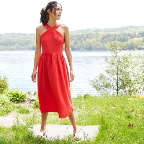 Women's Sleeveless Linen Dress - A New Day™  - image 1 of 4