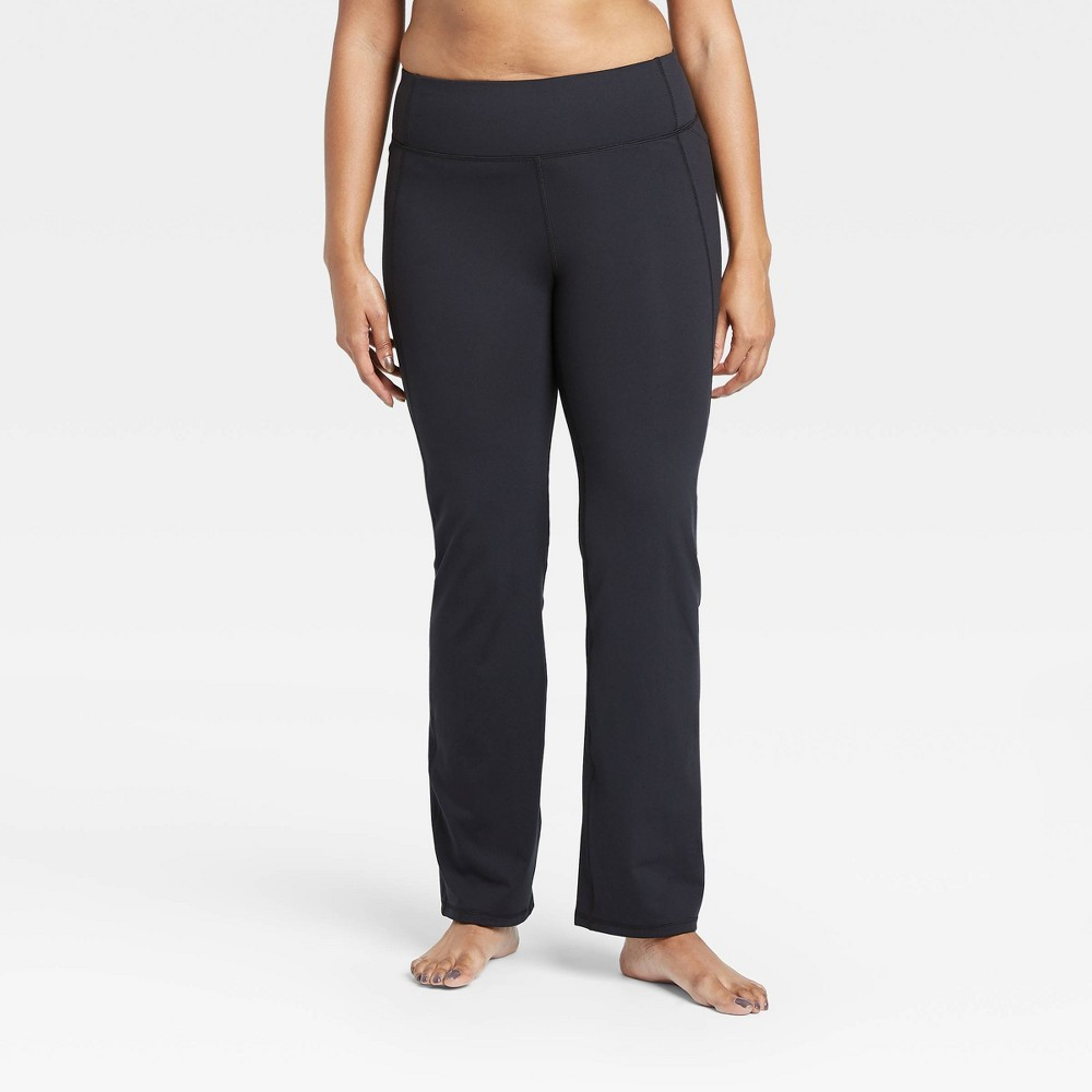 Women 39 S Contour Power Waist Mid Rise Straight Leg Pants 28 5 34 All In Motion 8482 Black Xxl Short