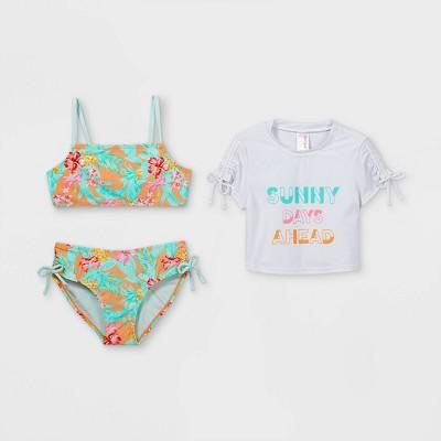 Girls' Cropped Short Sleeve 3pc Bikini Set - Cat & Jack™ White