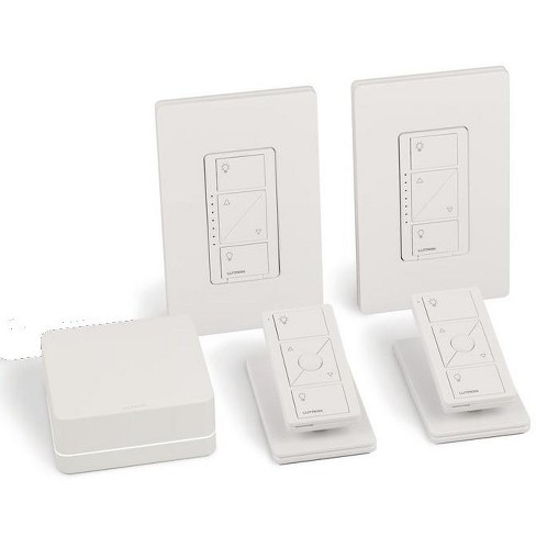 Lutron Caseta Wireless Smart Light Dimmer Switch (2 Count) Starter Kit with Pedestals for Pico Wireless Remotes, Works with Alexa, Apple HomeKit, and the Google Assistant | P-BDG-PKG2W. - image 1 of 4