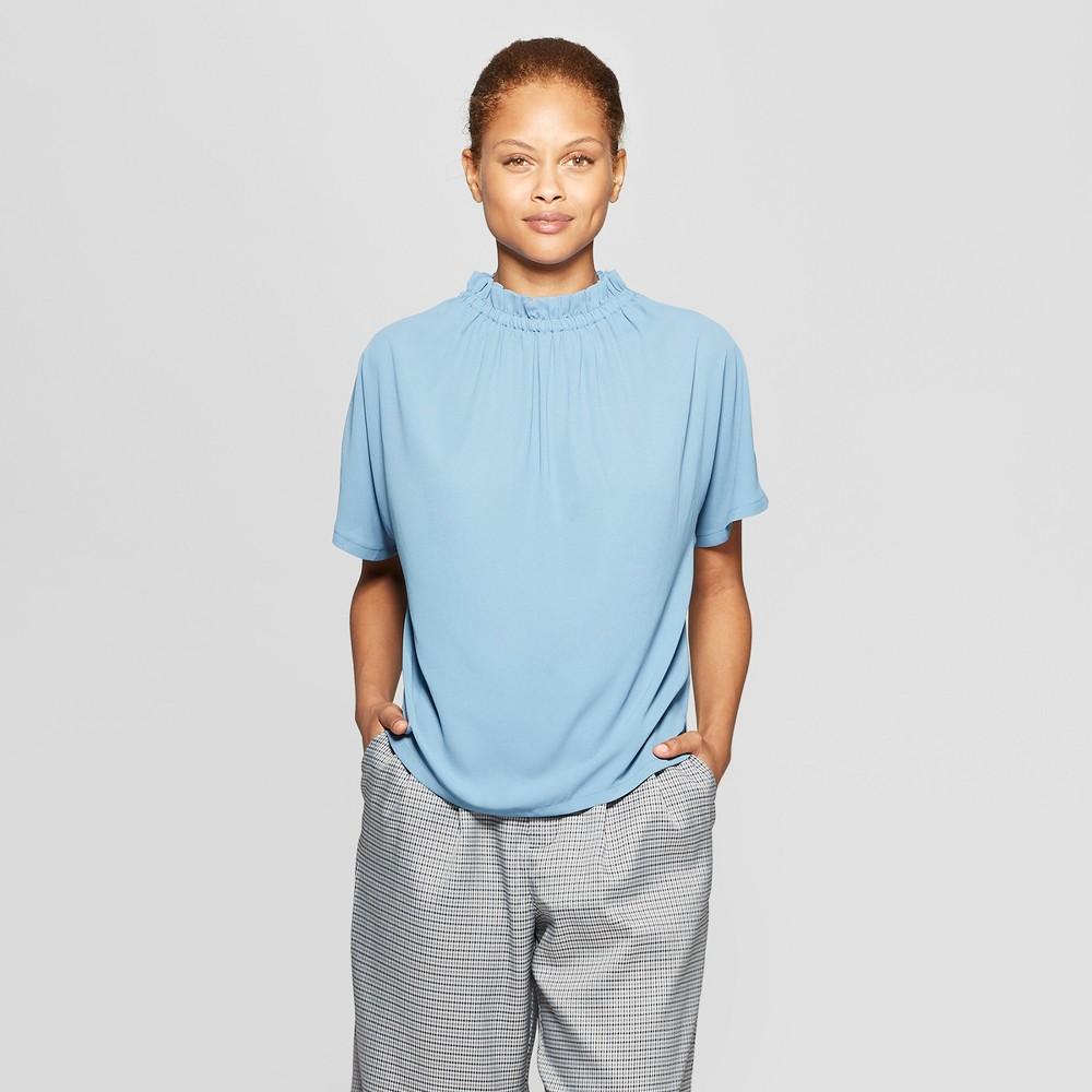 Women's Short Sleeve Elastic Neck Blouse - Prologue Blue Xxl