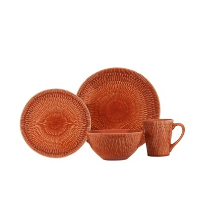 16pc Stoneware Palisades Dinnerware Set Red - Baum Bros.
