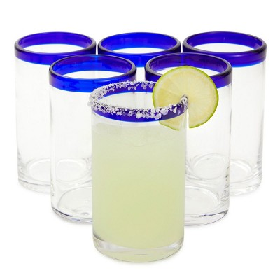 Okuna Outpost 6 Pack Hand Blown Mexican Drinking Glasses, Blue Rimmed Glassware (14 oz)