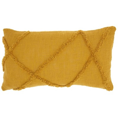 "14""x24"" Oversized Distressed Diamond Lumbar Throw Pillow Mustard - Mina Victory"