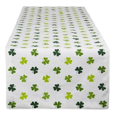 "72"" x 14"" Cotton Shamrock Shake Print Table Runner Green - Design Imports"