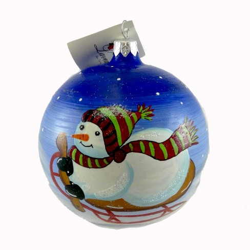 Laved Italian Ornaments Snowman On Sled Ball Christmas Winter Snow  -  Tree Ornaments - image 1 of 2