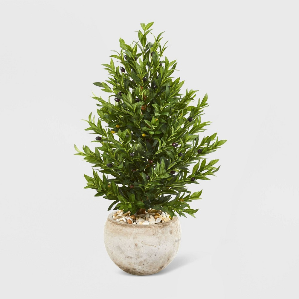 3ft Olive Cone Topiary Artificial Tree Sand Stone Planter UV Resistant - Nearly Natural, Green
