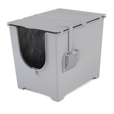 Modkat Flip Front-Entry Litter Box with Scoop and Reusable Liner, Gray