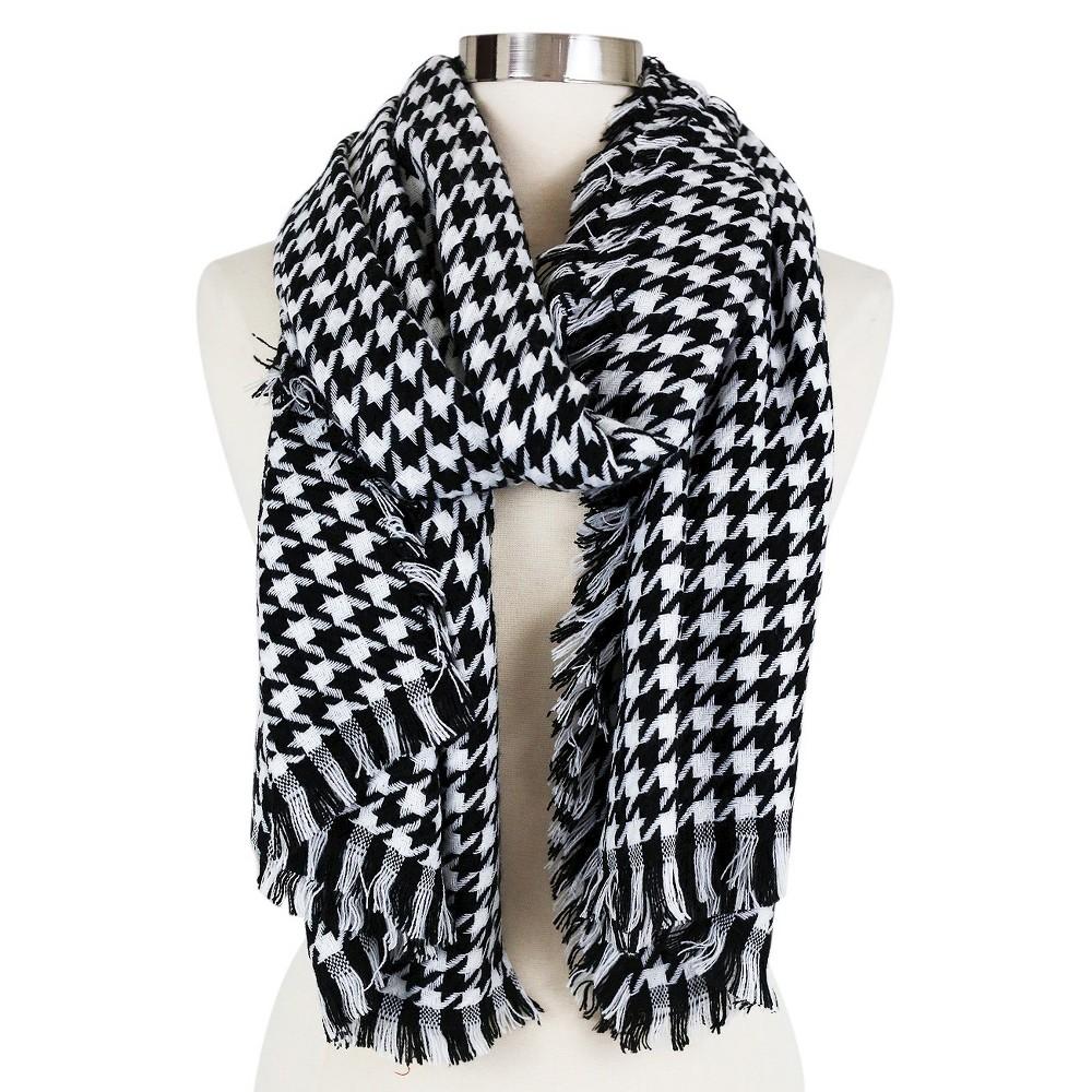 Women's Plush Houndstooth Blanket Wrap Scarf Black/White - Sylvia Alexander