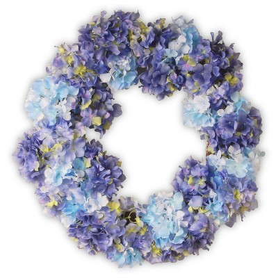"Garden Accents Artificial Hydrangea Wreath Blue 25"" - National Tree Company"