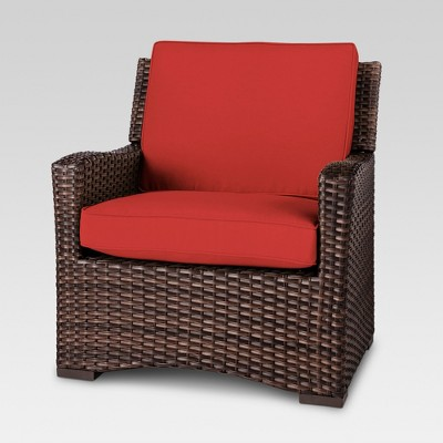 Superieur Halsted All Weather Wicker Outdoor Patio Club Chair W/Cushion   Red    Threshold™ : Target