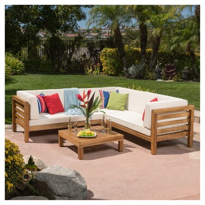 Wood outdoor sectional Wood Frame Oana 4pc Acacia Wood Patio Sectional Chat Set W Cushions Christopher Knight Home Target Target Oana 4pc Acacia Wood Patio Sectional Chat Set W Cushions