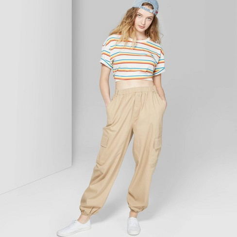 vivid and great in style up-to-date styling structural disablities Women's High-Rise Baggy Cargo Pants - Wild Fable™ Khaki