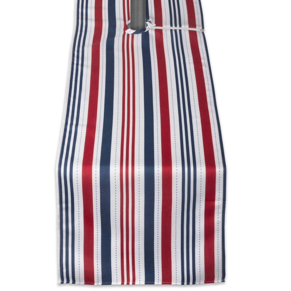 72 X14 Patriotic Stripe With Zipper Table Runner Blue Red Design Imports