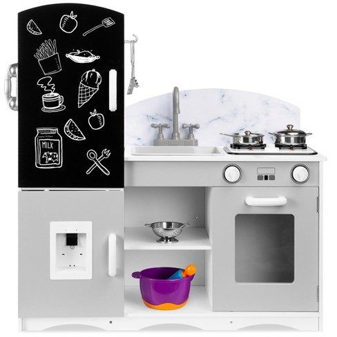 Best Choice Products Wooden Pretend Play Kitchen Toy Set For Kids W Chalkboard Marble Backdrop 7 Accessories Target