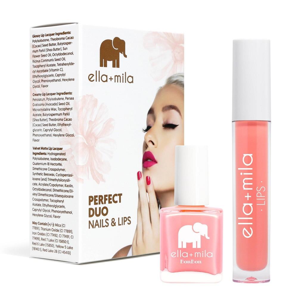 Image of ella+mila Perfect Duo Lip Lacquer & Nail Polish Set Sugar Rush + Strapless - 0.59 fl oz