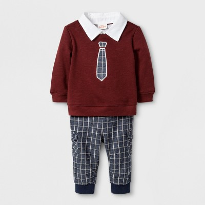 Baby Boys' 2pc French Terry Sweatshirt and Joggers Set - Cat & Jack™ Red 0-3M