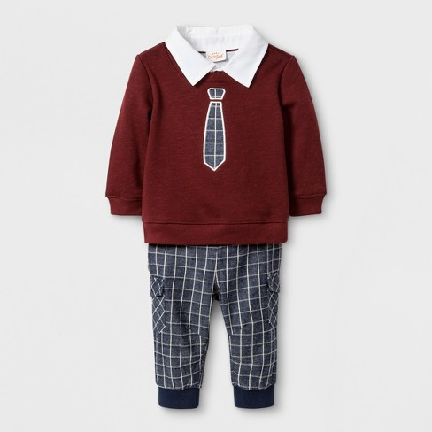 Baby Boys' 2pc French Terry Sweatshirt and Joggers Set - Cat & Jack™ Red 0-3M - image 1 of 2