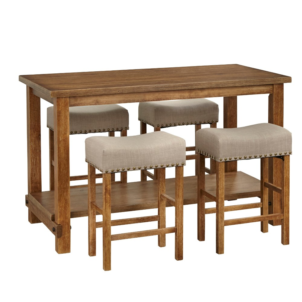 Stupendous 5Pc Hathaway Nailhead Counter Height Dining Set Driftwood Andrewgaddart Wooden Chair Designs For Living Room Andrewgaddartcom