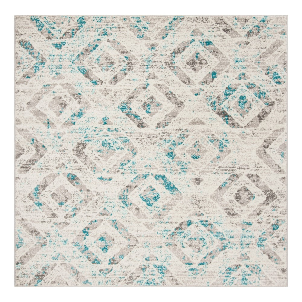 Ivory/Blue Geometric Loomed Square Area Rug 6'7