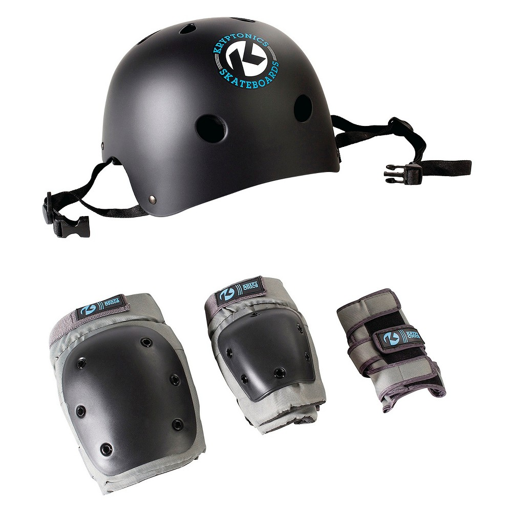 Kryptonics Skateboard 4-in-1 Skateboard Helmet and Pads Combo, Black/Gray