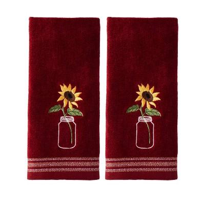 2pc Sunflower in Jar Hand Towel Set Burgundy - SKL Home