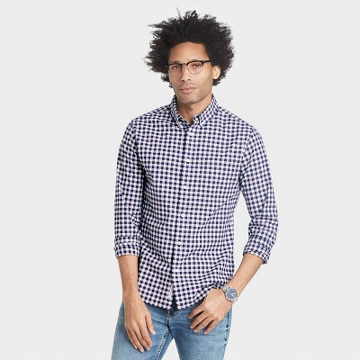 Men's Slim Fit Stretch Poplin Long Sleeve Button-Down Shirt - Goodfellow & Co™