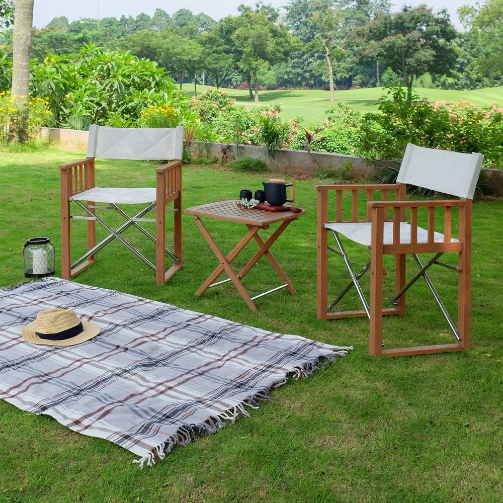 Image of 3pc Teak Westport Folding Chat Set - Cambridge Casual