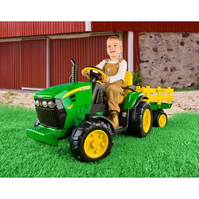 Peg Perego 12V John Deere Ground Force Tractor with Trailer Powered Ride-On - Green