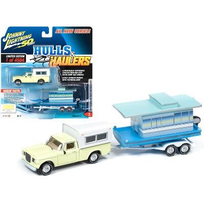 1960 Studebaker Pickup Truck w/Camper Shell Yellow w/Houseboat Ltd Ed 4504 pcs 1/64 Diecast Model Car Johnny Lightning