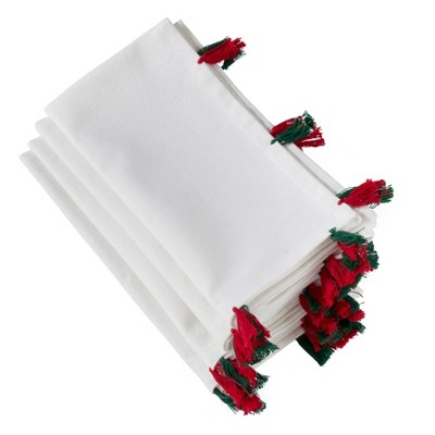 """20"""" White Napkin with Red and Green Tassels Set of 4 pc White - SARO Lifestyle"""