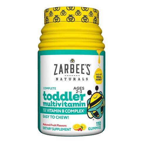 Zarbee's Naturals Toddler Complete Multivitamin Easy Chew Gummies - Natural Fruit Flavor - 110ct - image 1 of 4