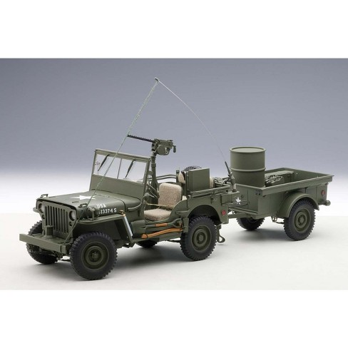 Jeep Willys Army Green With Trailer And Accessories 1 18 Diecast