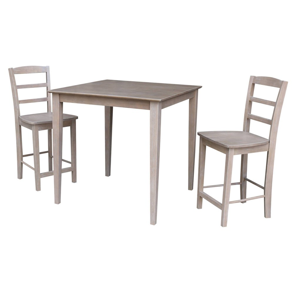3pc Solid Wood 36 X 36 Counter Height Table and 2 Madrid Stools In Washed Gray Taupe ( Set) - International Concepts was $809.99 now $607.49 (25.0% off)