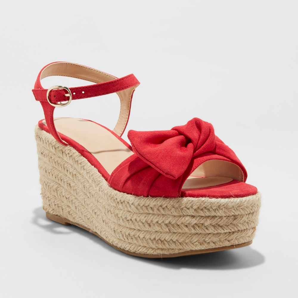 Women's Happy Bow Espadrille Wedges - A New Day Red 12