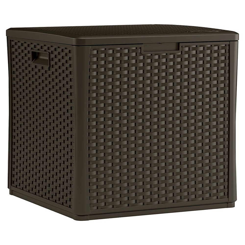 Suncast Storage Cube Resin Wicker 60 Gallon, Brown