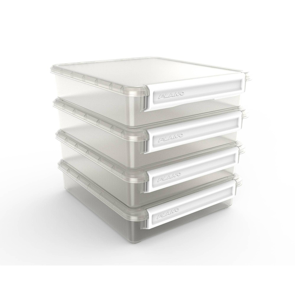 "Image of ""Plano Cubby Cube storage organizer, 4 stackable fits 12"""" & 13"""" cubed furniture White Handle"""