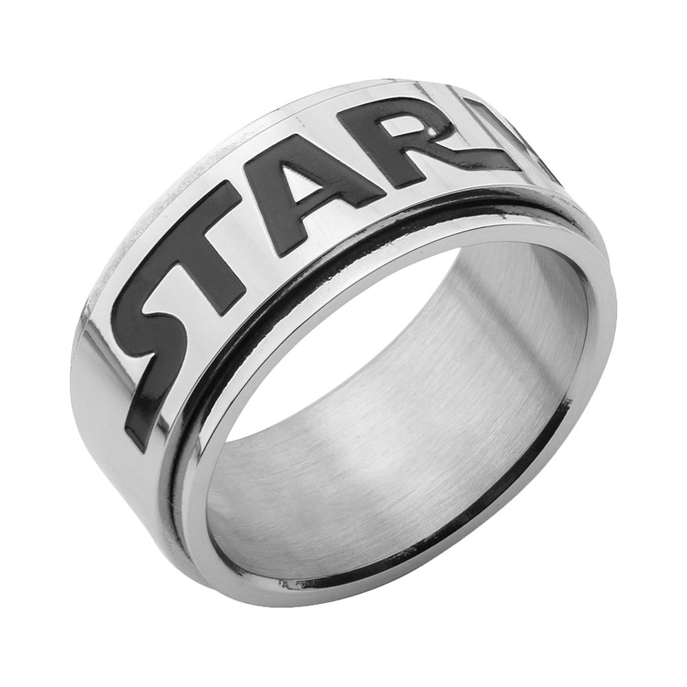 Check price Mens Star Wars Logo Stainless Steel Spinner Ring Silver Silver