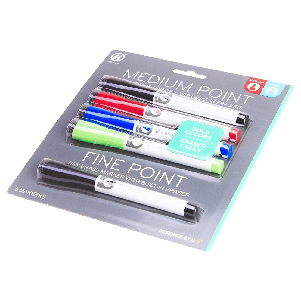 Ubrands Dry Erase Markers - 4 Medium Point + 1 Fine Point, Multi-Colored